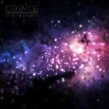 Vector cosmos illustration with stars and galaxy. On dark background Royalty Free Stock Photo