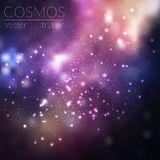 Vector cosmos illustration with stars and galaxy. On dark background Royalty Free Stock Photography