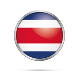 Vector Costa Rican flag Button. Costs Rica flag in glass button Stock Images