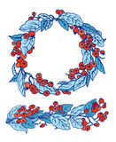 Vector Cotoneaster orange berries blue leaves in garland border and wreath Royalty Free Stock Photography