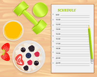 Vector cottage cheese with berries, orange juice, weights and notebook. Vector cottage cheese with berries, orange juice, weights and notebook on wood royalty free illustration