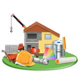 Vector Cottage Construction Royalty Free Stock Photo