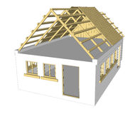Vector cottage white house Royalty Free Stock Images