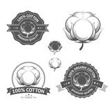 Vector Cotton labels. Cotton icons set. Cotton labels, stickers and emblems. 100 percent cotton , ideal for cotton products such a clothes and materials Royalty Free Stock Photography