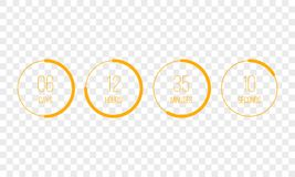 Vector countdown clock counter timer. UI digital count down circle board meter with circle time pie diagram. Vector countdown clock counter timer. UI app digital royalty free illustration