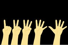 Counting Hand, One to Five. Vector Counting Hand, One to Five Stock Photography
