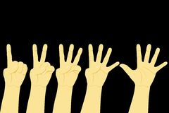 Counting Hand, One to Five at Black Background. Vector Counting Hand, One to Five Counting Hand, One to Five at Black Background Royalty Free Stock Photo