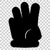 Counting Hand, Three at Transparent Effect Background. Vector Counting Hand, Three at Transparent Effect Background Royalty Free Stock Photography