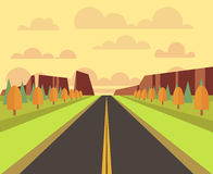 Vector country landscape with road Stock Images