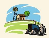 Country with tractor. Vector country with tractor on beige background Royalty Free Stock Image