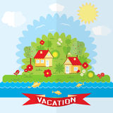 Vector countryside illustration in flat style Stock Image