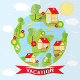 Vector countryside illustration in flat style. Royalty Free Stock Image