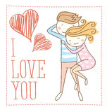 Vector Couple Fall In Love Royalty Free Stock Image