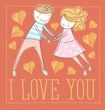 Vector Couple Fall In Love Stock Photos