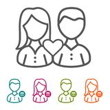 Vector Couple with Heart icons in thin line Style and flat Design.. Eps10 Vector Royalty Free Illustration