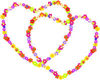 Vector couple of hippy hearts made of flowers. For a Valentine's Day isolated on a white background stock illustration