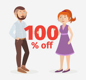 Vector/ couple hold 100 % off sign. Vector illustration with couple hold 100 % off sign Stock Photography