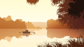 Vector couple on lake against orange sunset. Royalty Free Stock Images
