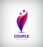 Vector couple logo. Love, support, man and woman together icon, concept. This also represents hug embrace, close friends together, events like engagement Royalty Free Stock Photography