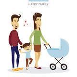 Vector couple love concept. Young family of parents, daughter and baby in the cradle. Romantic illustration. Royalty Free Stock Photos