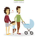 Vector couple love concept. Young family of parents, daughter and baby in the cradle. Romantic illustration. Royalty Free Stock Photography
