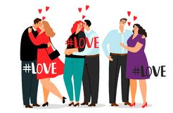 Vector couple in love and hashtag Love isolated on white background royalty free illustration