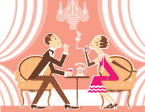 Vector couple of man and woman in vintage illustration Royalty Free Stock Images