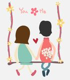 Vector couple sit on swing holding hand and flower royalty free illustration