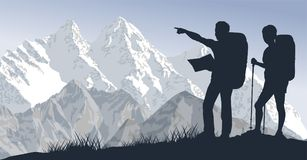 Vector couple of travellers in mountains. Illustration Royalty Free Stock Photography