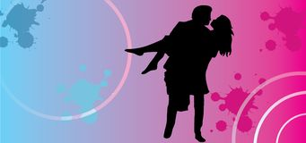 Vector couples in love silhouettes on Valentine background. These couples in love silhouettes are created exclusively to ensure you have happy Valentine day 2018 Stock Photo