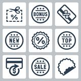 Vector coupon and discount related icons Stock Photo