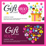 Vector coupon or voucher background template. Box with colorful Royalty Free Stock Photography