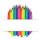 Vector cover with colored pencils. On the topic back to school and place for text stock illustration