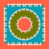 Vector cover design. Square Head Scarf with Floral Ornament. Vector design of tile, carpet, tablecloth fabric, cushion, pillow, b. All elements are located on royalty free illustration