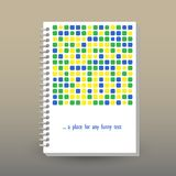 Vector cover of diary with ring spiral binder - format A5 - layout brochure concept - yellow, green, blue colored with. Vector cover of diary or notebook with Royalty Free Stock Images