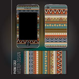 Vector cover phone abstract ethnic background Stock Photo