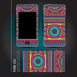 Vector cover smartphone abstract ethnic background Stock Photo