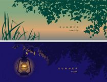 Vector cover for social networks, header with a summer mood, with the image of nature. At different times of the night, evening stock illustration