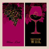 Vector cover of Wine list for bar and restaurant with grape Royalty Free Stock Photos