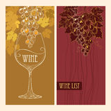 Vector cover of Wine list for bar and restaurant with grape Royalty Free Stock Photo