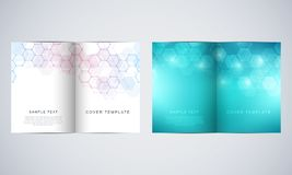 Vector covers or brochure for medicine, science and digital technology. Geometric abstract background with hexagons. Pattern. Molecular structure and chemical Stock Photo