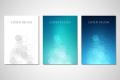Vector covers or brochure for medicine, science and digital technology. Geometric abstract background with hexagons. Design. Molecular structure and chemical Stock Photos