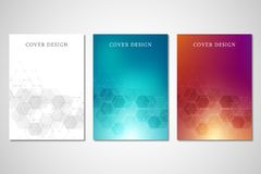 Vector covers or brochure for medicine, science and digital technology. Geometric abstract background with hexagons. Design. Molecular structure and chemical Royalty Free Stock Photos