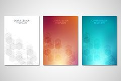 Vector covers or brochure for medicine, science and digital technology. Geometric abstract background with hexagons. Pattern. Molecular structure and chemical Royalty Free Stock Photo