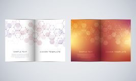 Vector covers or brochure for medicine, science and digital technology. Geometric abstract background with hexagons. Pattern. Molecular structure and chemical Royalty Free Stock Photos