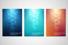 Vector covers or brochure for medicine, science and digital technology. Geometric abstract background with hexagons. Pattern. Molecular structure and chemical stock illustration