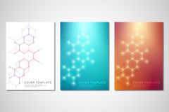 Vector covers or brochure for medicine, science and digital technology. Geometric abstract background with hexagons. Pattern. Molecular structure and chemical vector illustration