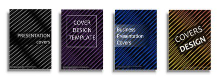 Vector covers collection, design templates. Bright covers illustration isolated over white background. Geometric patterns for business presentations, 3D covers Stock Photography