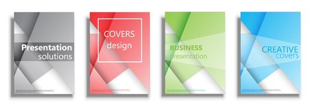 Vector covers templates, covers design collection. Vector covers design templates. Colored vector covers illustration set isolated over white background Royalty Free Stock Image