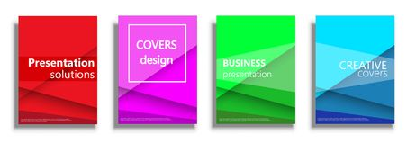 Vector covers templates, covers design collection. Covers design templates. Colored vector covers illustration set isolated over white background. Geometric Stock Photo